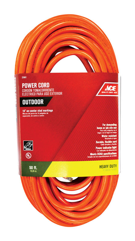 Ace Indoor And Outdoor Extension Cord 12 3 Sjtw 50 Ft L Orange Vshe31841 R6853 63 04