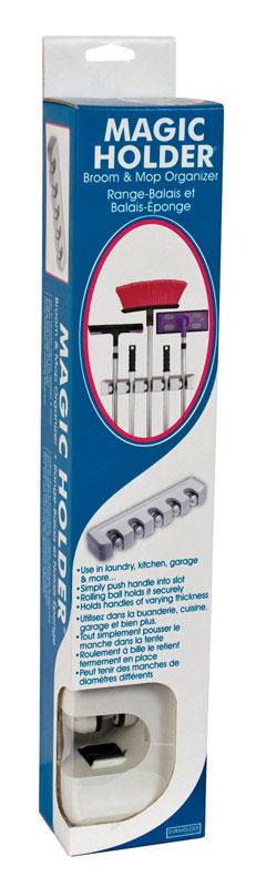 Evriholder Magic Holder 3-9//32 H x 2-13//16 W x 12-9//16 L Broom//Mop Holder White